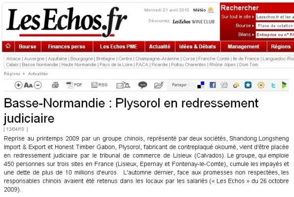 Les Echos | Article du 21/04/2010 | Basse-Normandie : Plysorol en redressement judiciaire