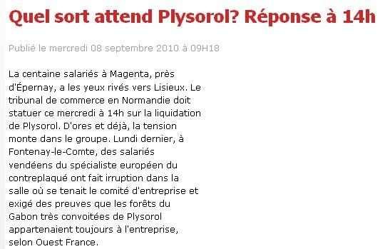 L'Union   Article du 08/09/2010   Quel sort attend Plysorol? Réponse à 14h