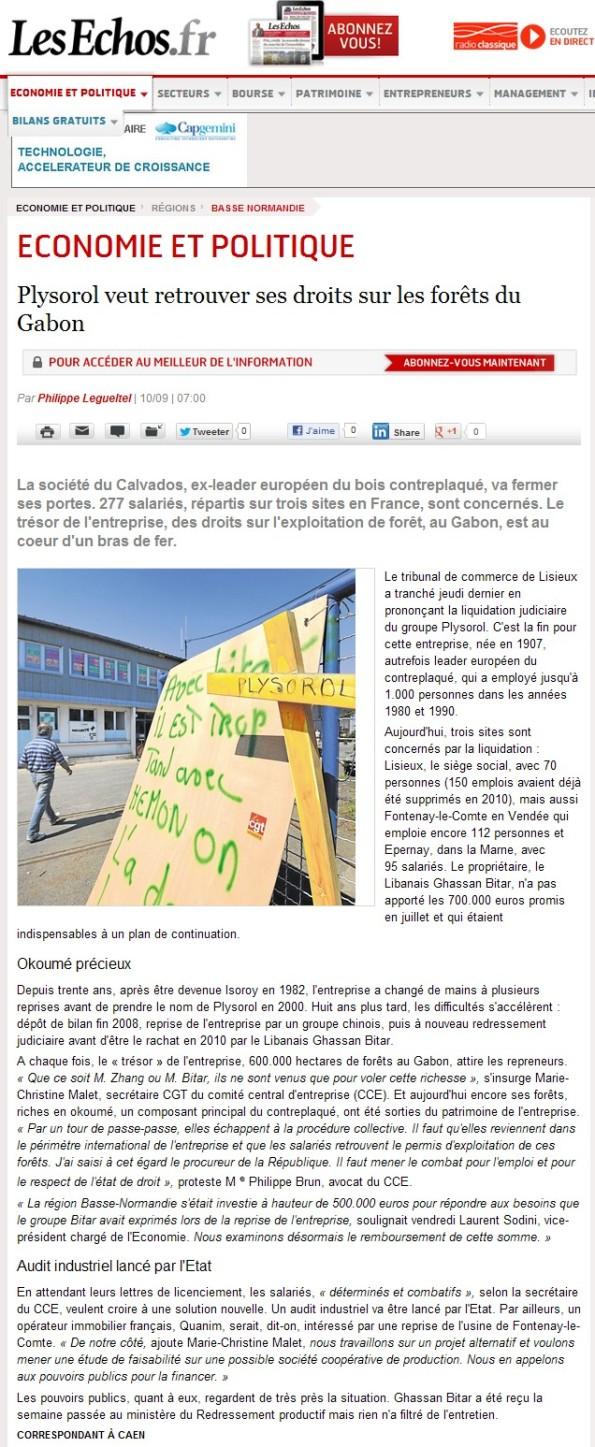 Les Echos | Article du 10/09/2012 | Plysorol veut retrouver ses droits sur les forêts du Gabon