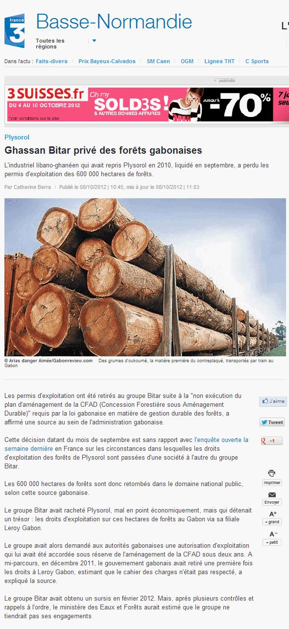 France 3 Basse Normandie | Article du 08/10/2012 | Ghassan Bitar privé des forêts gabonaises